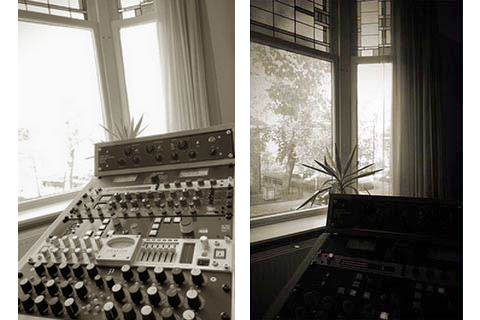 Mastering outboard and outside view of the studio